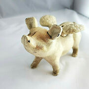 Vintage Cast Iron Flying Pig Coin Bank
