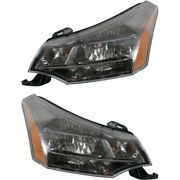 Headlight Set For 2009 2010 2011 Ford Focus Left And Right Black Housing 2pc