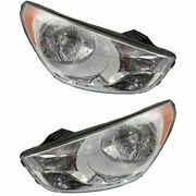 Headlight Set For 2010-2013 Hyundai Tucson Left And Right With Bulb 2pc