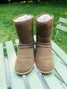 Bearpaw Womens Size 8 Brown Suede Sherpa Lined Boots Nice