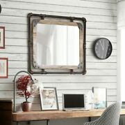 Rustic Pipe Wood Mirror Wall Mount Industrial Bath Living Antique Copper Finish