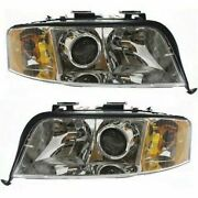 Halogen Headlight Set For 2003-2004 Audi A6 Quattro Left And Right W/bulbs Pair