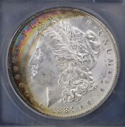 1884-o Unc Silver Morgan Dollar Icg Ms64 Colorful Rainbow Crescent Monster Toned