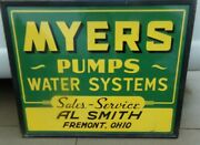 Myers Pumps Water Systems Sales Service Al Smith Fremont, Oh Metal Sign 60x48