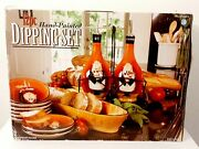 Tracy Flickinger 12 Pc Fat Chef Dipping Set Hand Painte Certified International