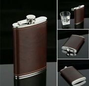 Starwings Flask 8oz Brown Leather Wrap Stainless Steel Attached Screw Cap