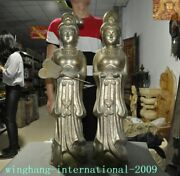 Antique Old China Dynasty Tibetan Silver Gilt Antiquity Belle Girl Beauty Statue