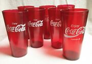 Vintage Coca Cola Red Plastic Drinking Glass Set Of 7 Made In Usa Houston Tx