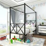 Metal Canopy Bed Frame, Platform Bed Frame Twin With X Shaped Frame, Twin Black