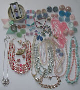 Vintage Costume Jewelry Necklaces Bracelets Er Belt Watches Some Signed 43pc Mix