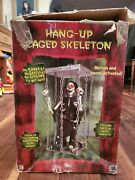 Used Gemmy Hang-up Caged Skeleton Rare Retired Animated Prop Working