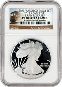 2012 S 1 1 Oz Proof Silver American Eagle Ngc Pf70 Ultra Cameo Er Trolley Label