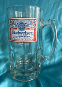 Vintage Budweiser Stien Beer Glass Mug 8 Inches Tall