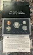 1993 United States Mint Silver Proof Set 5 Coins W/ogp Box And Coa