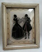 Vintage Bubble Convex Glass Silhouette Picture Wood Frame Early European Music