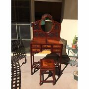 Free Ship Antique Chinese Burl Wood And Blackwood Dressing Table-vanity And Stool