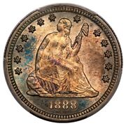 1888-s Seated Liberty Quarter Toned Teal Pcgs Ms64
