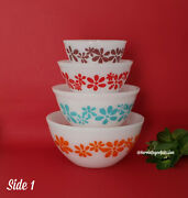 Rare Find Agee Australian Pyrex Daisy Chain Mixing Nesting Bowl Set Complete