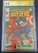 Daredevil 43 1968 Cgc Ss 6.5 Signed By Stan Lee Kirby Cover Captain America 🔥🔥