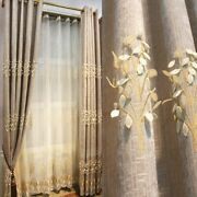Blackout Curtains Tulle Embossed Embroidery Window Drapes Modern Home Decoration