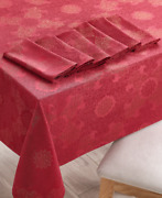 Martha Stewart Red Holiday Dining Set W/ 102 Tablecloth And 6 Napkins 81614