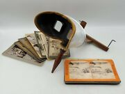 Antique Pat. 1901 Underwood Sun Sculpture Stereopticon Stereo Viewer W/ 16 Cards