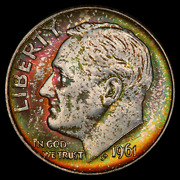 1961-d Pcgs Ms65 Roosevelt Dime - Lovely Rainbow Toning