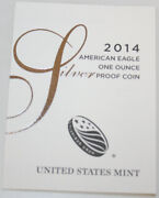 2014-w American Silver Eagle Prf New Us Mint Product Coa Only, No Coins