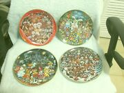 Franklin Mint 4 Dog Plates Valentine's, Easter, Halloween And Xmas By Bill Bell 8