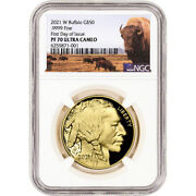 2021 W American Gold Buffalo Proof 1 Oz 50 Ngc Pf70 Ucam First Day Of Issue