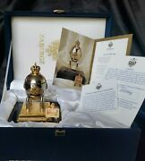 Authentic Faberge Imperial Steel Military Egg W/orig Box Very Rare