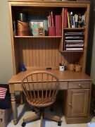 Ethan Allen Student Computer Desk Hutch And Chair Maple 1297