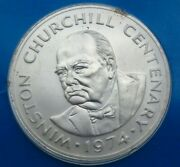 1974 Turks And Caicos Islands Sterling Silver 20 Crown Churchill Coin