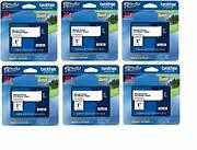 Brother Genuine P-touch 6-pack Tze-251 Laminated Tape Black Print On White St...
