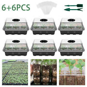 Plastic 12 Cell Seed Tray Starter Plant Inserts Manual Seeding Pots Tool Set Us