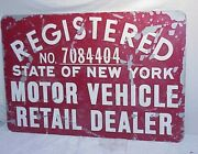 Vintage Ny Red Registered Motor Vehicle Retail Dealer Double Sided Sign