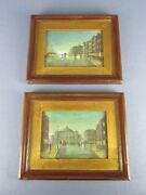 2 Paintings Painted Oil Miniature Landscapes Of Beginning Xx Century Signed B.