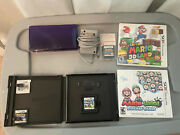 Nintendo 3ds Midnight Purple W Charger And Game Lot Mario And Luigi Dream Team