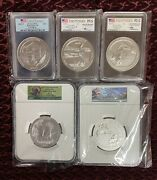 2015p Atb 5 Ounce Silver Complete Set. Graded Pcgs And Ngctotal Of Five Coins