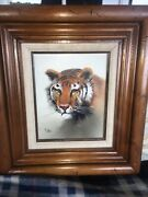 Oil Painting On Wood Panel. Tiger. By M. Dillon.