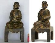 Chinese Gold-gilt Bronze Luohan Figure On Stand With 16 Character Jiajing Mark