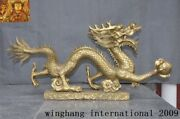35collect Chinese Fengshui Bronze Brass Zodiac Lucky Animal Loong Dragon Statue
