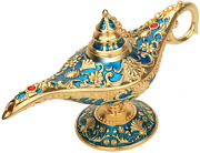 Vintage Legend Aladdin Lamp Magic Genie Wishing Light Collectable Metal Carved