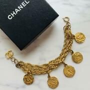 Auth Vintage Logo Medallion Charm Chain Bracelet Gold Used From Japan F/s
