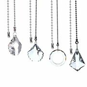 4 Pack Ceiling Fan Pull Chain Crystal Prisms Charm Pendant Ceiling Transparent