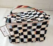 New Mackenzie Childs Courtly Check Train Case Plastic-lined Travel In Style