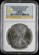 2013 American Silver Eagle Ngc Ms 70   Early Releases West Point