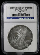 2008 W Reverse Of 2007 Burnished Silver Eagle Ngc Ms 70 | Early Releases Rev 07