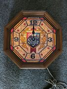 Vtg 1980 Old Style Beer Stain Glass Looking Light Up Back Bar Clock Sign Rare