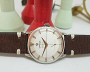 Rare Vintage 1952 Omega Geneve Sub Second Silver Dial Cal266 Manand039s Watch